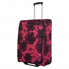 Tripp rose/navy 'Outline Pansy' 2 wheel medium suitcase